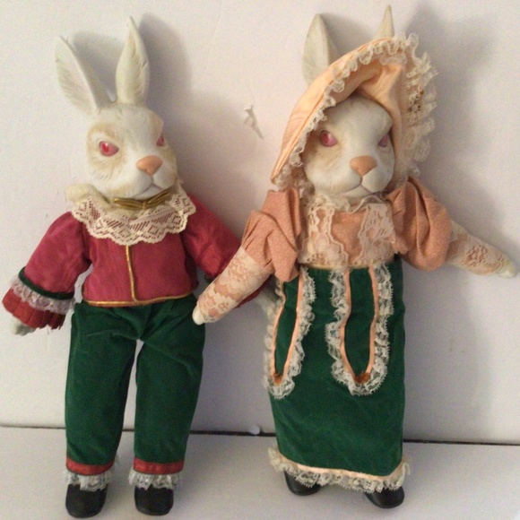 Vintage Rabbit Couple Collectible Dolls